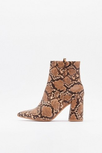 NASTY GAL If Hiss Was a Movie Faux Leather Snake Boots in Brown - flipped