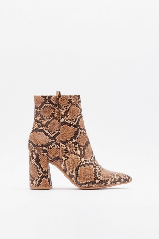 NASTY GAL If Hiss Was a Movie Faux Leather Snake Boots in Brown