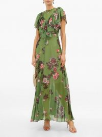PREEN BY THORNTON BREGAZZI Irisa gathered floral-print georgette maxi dress in green / feminine style dresses