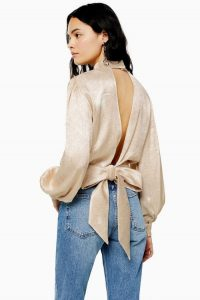 TOPSHOP Jacquard Top With Cut Out Back in Champagne / high neck, blouson sleeve tops