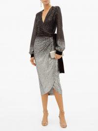 RAQUEL DINIZ Jade black and silver dégradé-sequinned wrap dress / occasion glamour