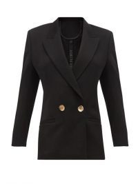 PETAR PETROV Jeffrey double-breasted black wool-twill blazer ~ stylish contemporary cut jacket