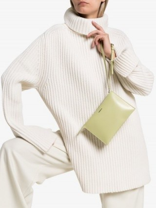 Jil Sander Green Tootie Leather Clutch Bag ~ small designer bags - flipped