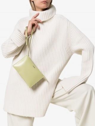 Jil Sander Green Tootie Leather Clutch Bag ~ small designer bags