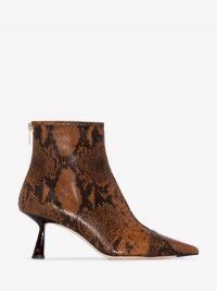 Jimmy Choo Brown Kix Snake Ankle Boots ~ point toe booties