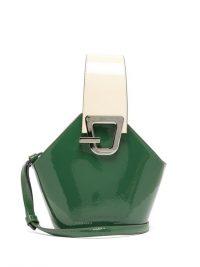 DANSE LENTE Johnny mini patent-leather bucket bag in green