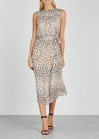 JOIE Corrin leopard-print silk midi dress / sleeveless tie-waist dresses
