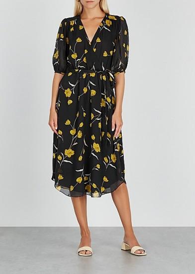 JOIE Ervina floral-print silk midi dress / feminine tie waist dresses