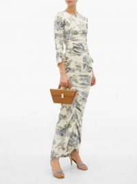 PREEN BY THORNTON BREGAZZI Josepha ruched floral-print velvet dress / sophisticated fashion