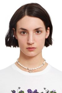 Justine Clenquet NEVE CHOKER | pearl and silver beaded chokers | crosses
