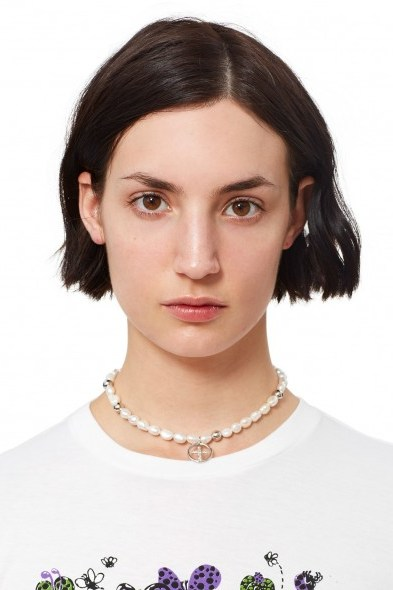 Justine Clenquet NEVE CHOKER | pearl and silver beaded chokers | crosses - flipped