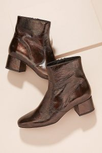 Kanna Patent-Leather Ankle Boots in Brown | fall fashion colours