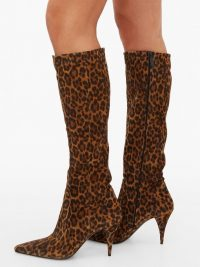 SAINT LAURENT Kiki pointed suede knee-high boots | autumn animal prints