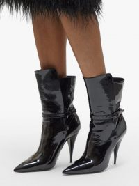 SAINT LAURENT Kiki point-toe black patent-leather boots