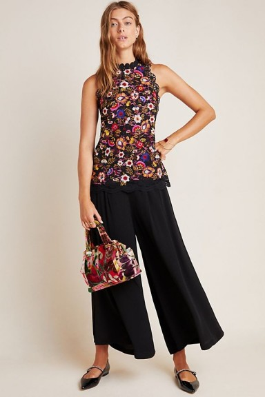 Maeve Kirstie Embroidered Peplum Blouse Black Motif / floral sleeveless top