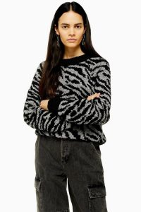 Topshop Knitted Zebra Crew Neck Jumper in Monochrome
