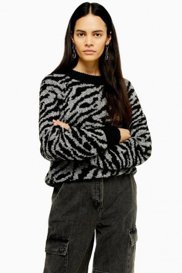 Topshop Knitted Zebra Crew Neck Jumper in Monochrome - flipped