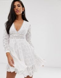 Koco & K embroidered frill hem skater dress in white | plunging neckline fit and flare