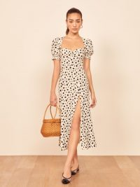 Reformation Lacey Dress in Ink Blot / spot print puff sleeve dresses