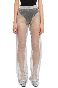 LAZOSCHMIDL WORF PANT in SILVER | sheer mesh trousers