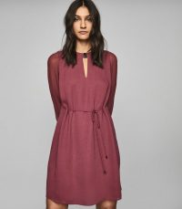REISS LEAH METAL TRIM MINI DRESS BERRY ~ effortless style clothing