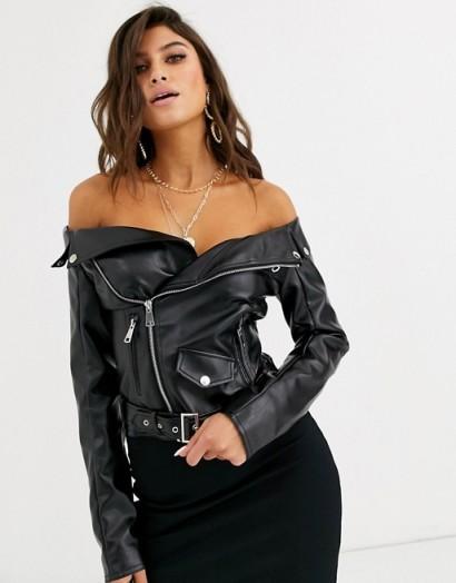Lemon Lunar off shoulder faux leather jacket top in black ~ bardot biker