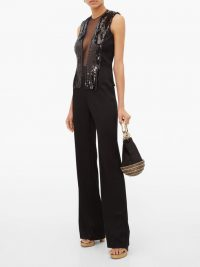 GALVAN Lena sequin, mesh and satin wide-leg jumpsuit in black ~ party glamour ~ glamorous evening wear
