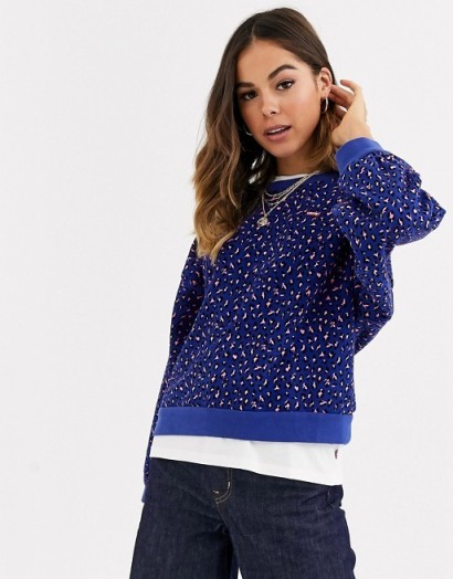 Levi's Isa crew neck sweatshirt in fun leopard sodalite / blue sweat top