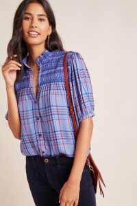 Maeve Lise Smocked Plaid Top in Blue