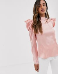 Little Mistress satin top with statement shoulders in pink
