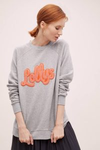 Lolly's Laundry Embroidered Sweatshirt in Grey / logo sweat top