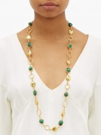 SYLVIA TOLEDANO Long malachite necklace ~ green stone necklaces