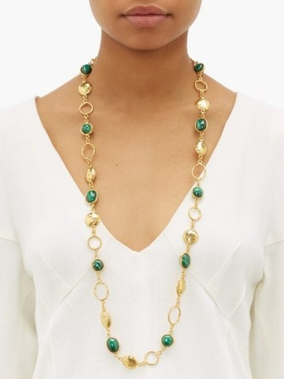SYLVIA TOLEDANO Long malachite necklace ~ green stone necklaces - flipped
