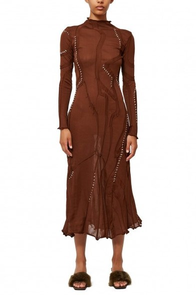 LOROD SWIRL DRESS in BROWN - flipped