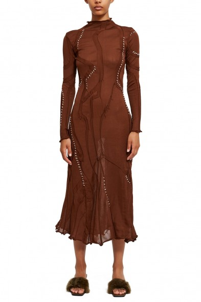 LOROD SWIRL DRESS in BROWN