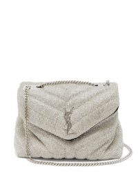 SAINT LAURENT Lou crystal-chainmail cross-body bag in silver ~ evening glamour