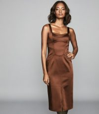 REISS MADELEINE STRUCTURED BODYCON DRESS CHOCOLATE ~ luxe style fitted dresses