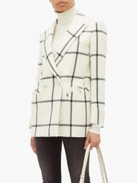 BLAZÉ MILANO Magda windowpane-check wool blazer in ivory / checked double breasted jackets