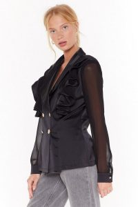 NASTY GAL Make It Satin Double Breasted Blazer in Black ~ ruffled detail jacket