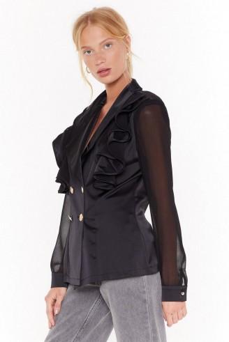 NASTY GAL Make It Satin Double Breasted Blazer in Black ~ ruffled detail jacket