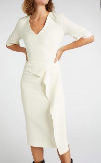 ROLAND MOURET MARENGO DRESS in Ecru