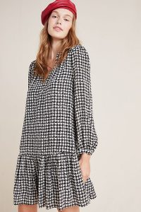 Maeve Margaret Houndstooth Tunic Dress Black and White / monochrome drop waist dresses