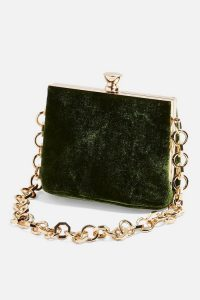 Topshop MARGOT Velvet Frame Bag in Green