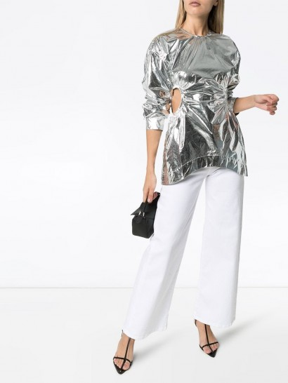 MARKOO cut-out side blouse in metallic-silver / high-shine top