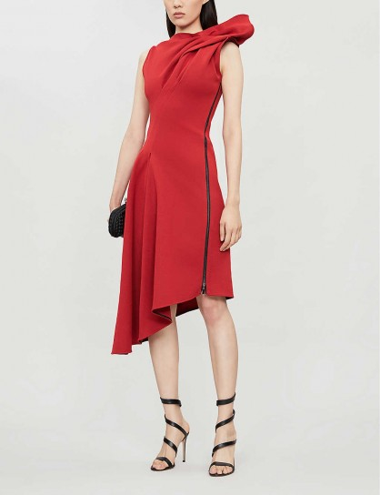MATICEVSKI Paramour sculpted-top crepe dress in flame ~ red event clothing