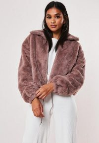 Missguided mauve cropped faux fur bomber jacket