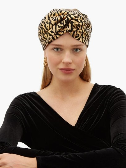 GUCCI Metallic logo-print turban headband ~ glamorous gold headbands