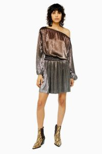 Topshop Metallic Plisse Mini Dress in Bronze | glam party frock
