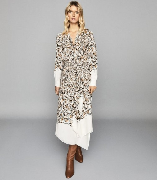 REISS MIA FEATHER PRINTED MIDI DRESS WHITE