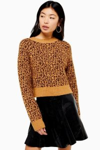 Topshop Micro Animal Cropped Jumper in Brown